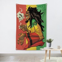 Bob Marley Music Band Team Logo Cloth Poster Banners Four-Hole Flag Dormitory Bedroom Wall Decoration