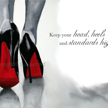 "CHRISTIAN LOUBOUTIN Black Shoes Art Print 'Fashion Quote' 10 x 8"" Oil Painting, Fashion Gifts, Wall Art"