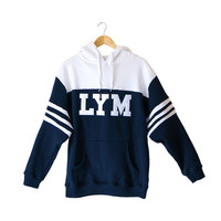 Navy LYM Striped Hoodie - Love Your Melon