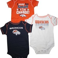 Denver Broncos 3pc Creeper Bodysuit Set Infant Baby Charge (0-3 Months)