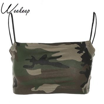 Weekeep 2018 Summer Women Sexy Camo Camisole Cotton Cropped Backless Feminino Camis Skinny Strap Tank Top Bralette Crop Top