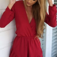Plain V Neck Romper 10316