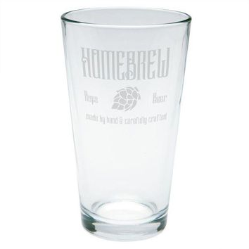 DCCKU3R Homebrew Hops Beer Hand Crafted Etched Pint Glass