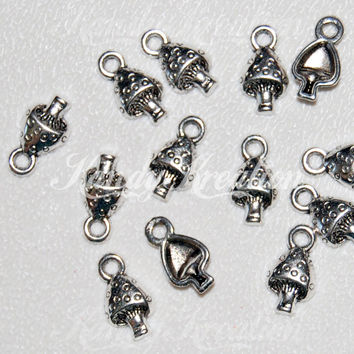 25 SILVER Mushroom Shaped Pendants Tibetan Metal for Kandi Rave Raver Hippy Pony Bead Bracelet necklaces craft hippies Shrooms Charms Small