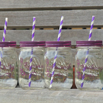 wedding party favor, glass mason tumblers, mason jar tumblers, colored mason jars, bridesmaid mason jars, drinking mason jar