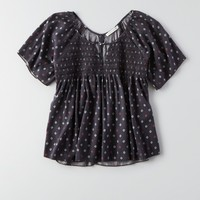 AEO FLOWY SMOCKED TOP