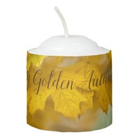 Yellow autumn maple leaves. Add you text or name. Votive Candle