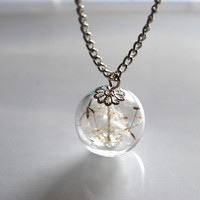 Dandelion Necklace Make A Wish 05 Glass by NaturalPrettyThings