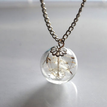 Dandelion Necklace Make A Wish Glass Bead Orb Silver Necklace Botanical  Globe Beadwork
