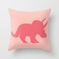 Triceratops Throw Pillow, pink, throw pillow, jurassic, pink, cretaceous, dinosaur decor, cushion, cute, sofa, bed, dorm, fall