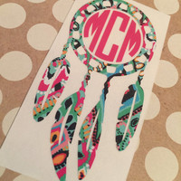 Lilly Pulitzer Inspired Dream Catcher | Monogrammed Dream Catcher | Dream Catcher Decal | Dream Catcher Car Decal | Car Decal | Monogrammed
