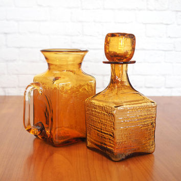 Vintage Amber Glass Decanter and Pitcher | Mid Century Modern Cocktail Set