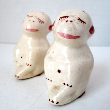 Vintage White Monkey Salt and Pepper Shakers Japan