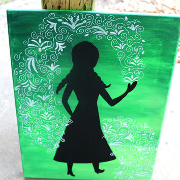 Princess Anna silhouette // 11x14 inch canvas // green background and design // READY TO SHIP
