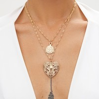 Gold Triple Layered Pendant Necklace