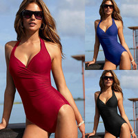 Push Up One-piece Monokini With a Skirt Swimsuit Swimwear Summer Dresses