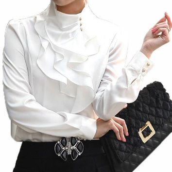 Stand collar long sleeve female shirt office Formal elegant ruffles chiffon women's blouse