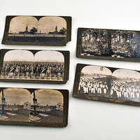 Keystone Stereoview 5pc WWI Sailors, Soldiers, Training Camp and Burial Grounds