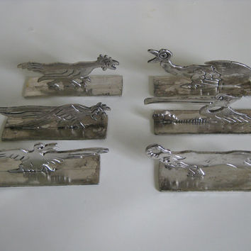 Set of 6 French art deco knife rests birds and goat