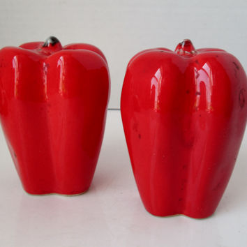 Vintage Sweet Red Pepper Salt and Pepper Shakers