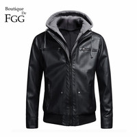 Size M-4XL Men Spring and Autumn Famous Brand Motorcycle Biker Black PU Casual Coats And Jackets with Detachable Hooded Slim Fit