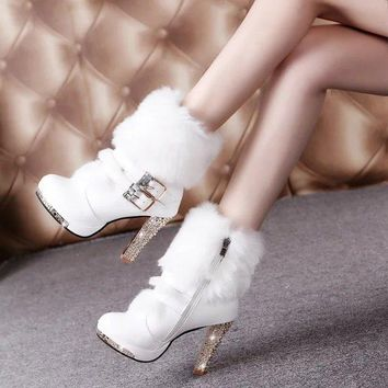 Shinning Crystal Faux Fur Pointed Toe Side Zipper High Stiletto Heel Short Boots
