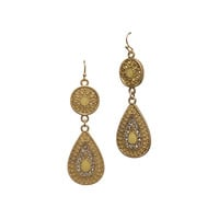 Gold Teardrop and Circle Drop Earrings by Lydell NYC