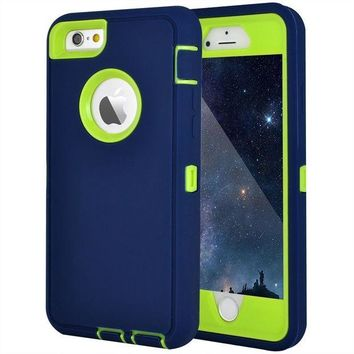 DCCKRQ5 Maxcury iPhone 6 Case, iPhone 6S Case, Crosstree Heavy Duty Shockproof Series Case for iPhone 6/6S (4.7')-V2 with Built-in Screen Protector Compatible with all US Carriers (Navy&Lime)
