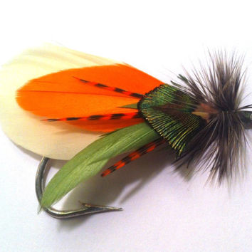Fall boutonniere fly fishing lure custom autumn rustic outdoor hook orange rust green natural pin brooch lapel hat mountain feather angler