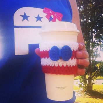 Red, White, & Blue Bow Coffee Cozy