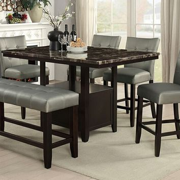 6 pc Arenth II collection espresso finish wood counter height table with faux marble top dining table set
