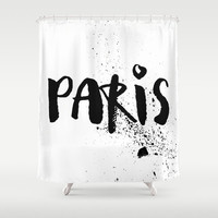 Shower Curtain - Paris Shower Curtain - Black and White Shower Curtain - Paris Decor - Modern Shower Curtain - Paris Black and White