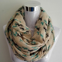 Infinity Scarf Snood Runnning Horse
