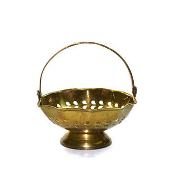 Vintage Brass Basket Small Brass Basket Brass Dish Brass Flower Basket Brass Trinket Dish