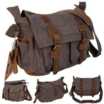 Men's Vintage Canvas Leather School Military Shoulder Messenger Bag