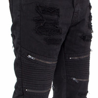 Distressed Biker Denim Shorts with Zippers by Smoke Rise (Black)