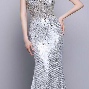 Fashion V Neck Sleeveless Sequin Mermaid Long Prom Dresses Backless Bead Floor Length Party Prom Gowns