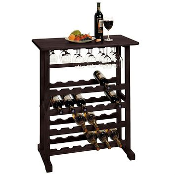 24-Bottle Wine Rack Table with Stemware Glass Hanging Rack
