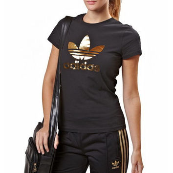 """Adidas"" Fashion Casual Female Letter Print Logo  Round Neck Short Sleeve Cotton T-shirt Sportswear Tops"