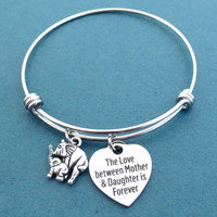 The love between Mother & Daughter is forever, Elephant, Silver, Bangle, Bracelet, Heart, Love, Gift, Jewelry