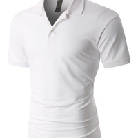LE3NO PREMIUM Mens Active Pique Short Sleeve Polo Shirt with Stretch