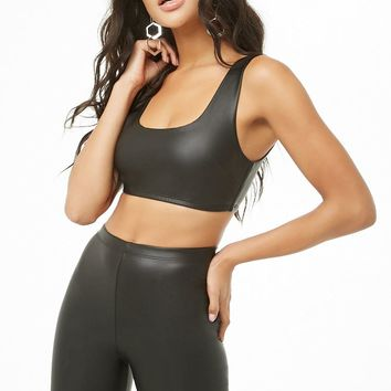 Faux Leather Crop Top & Biker Shorts Set