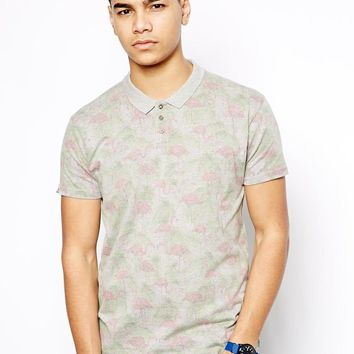 Bellfield Polo Shirt With Flamingo Print - Gray marl