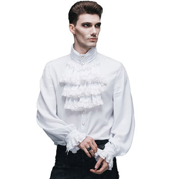 Steampunk Gothic Mens Casual White Shirts British Style Lace Tie Mandarin Collar Long Sleeves Shirt Tops Blouses For Men SJM127
