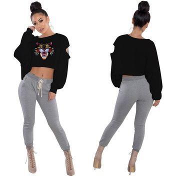 Long Sleeve Print Crop Top with Ripped Details