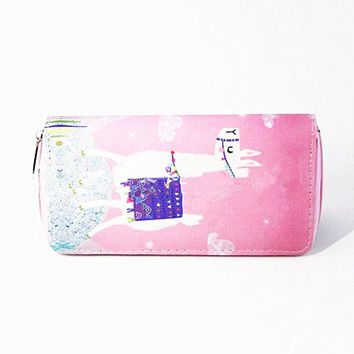 Cartoon Women Long Wallet Cute Little Alpaca Design Card Holder Coin Pocket Handbag Fashion Wallet