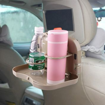 Onever Universal Car Folding Food Table Cup Holder Beverage Bottle Holders Back Seat Drink Cup Organizer Mount Tray Holder Stand