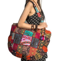 Red Embroidered Bohemian Patchwork Hippie Handmade Shoulder Boho Purse - Free Shipping