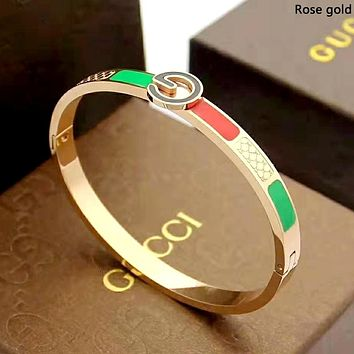 GUCCI 2019 new pattern red and green stripes men and women models wild fashion bracelet Rose gold