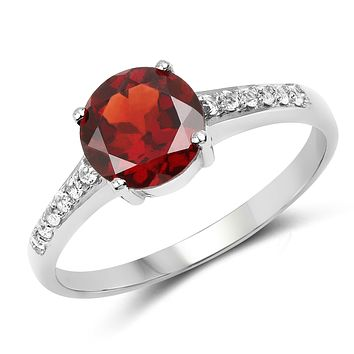 A 1.66CT Round Cut Red Garnet Engagement Ring